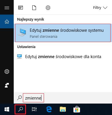 Edycja zmiennych srodowiskowych w Windows 10