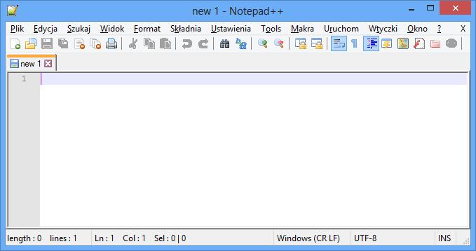 Okno programu Notepad++