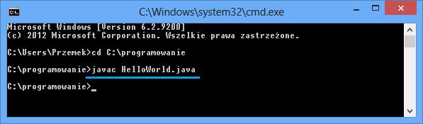 Pierwsza kompilacja programu w jezyku Java