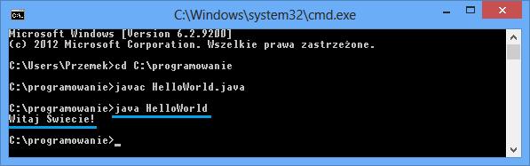 Pierwsze uruchomienie programu w jezyku Java