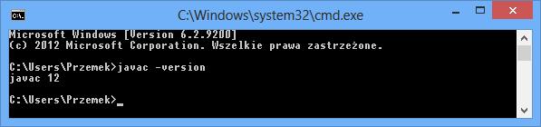 Sprawdzanie wersji kompilatora Javy