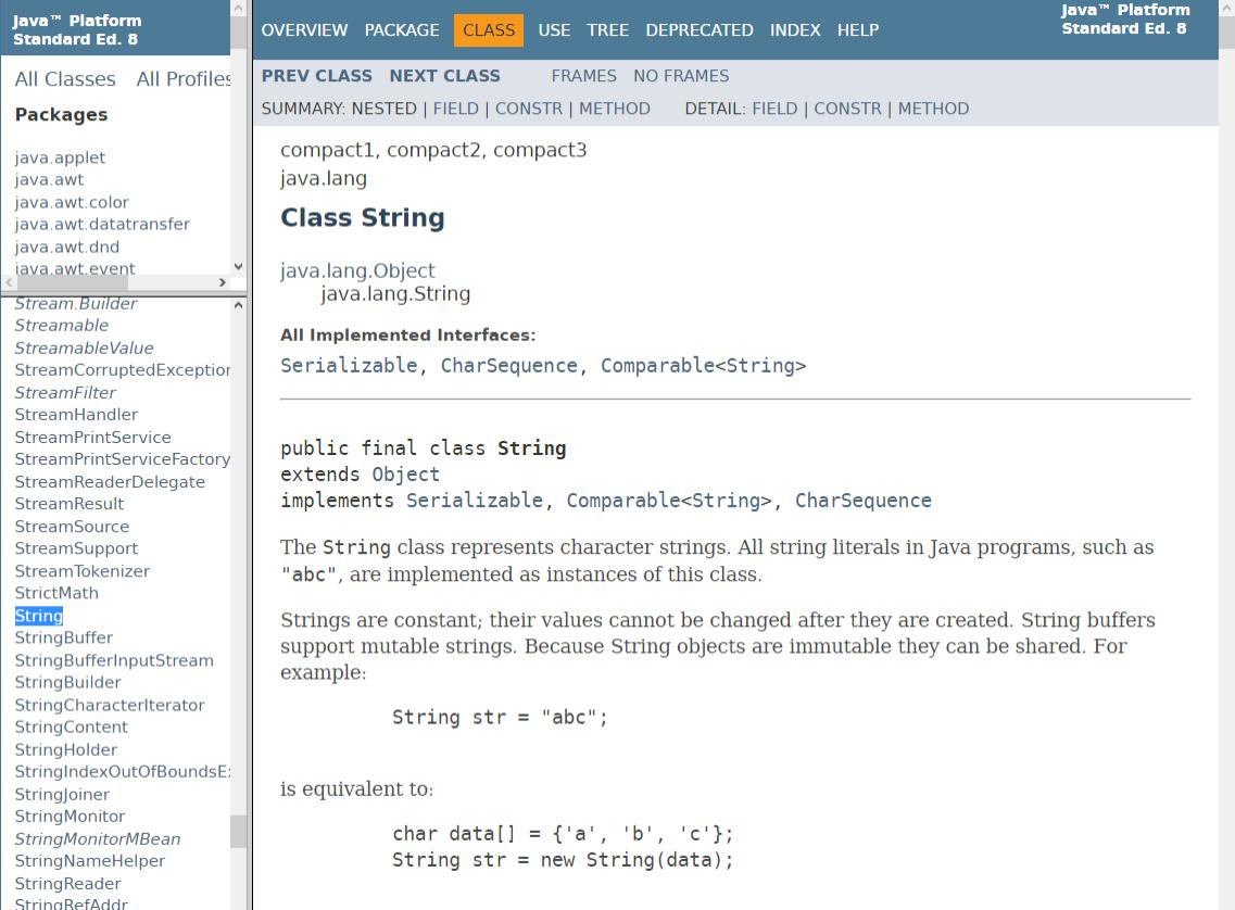JavaDoc - dokumentacja typu String