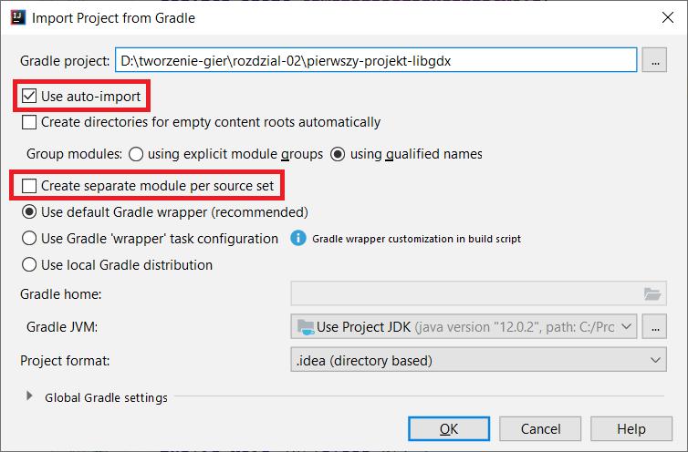 Ustawienia importu do IntelliJ IDEA projektu LibGDX używającego Gradle