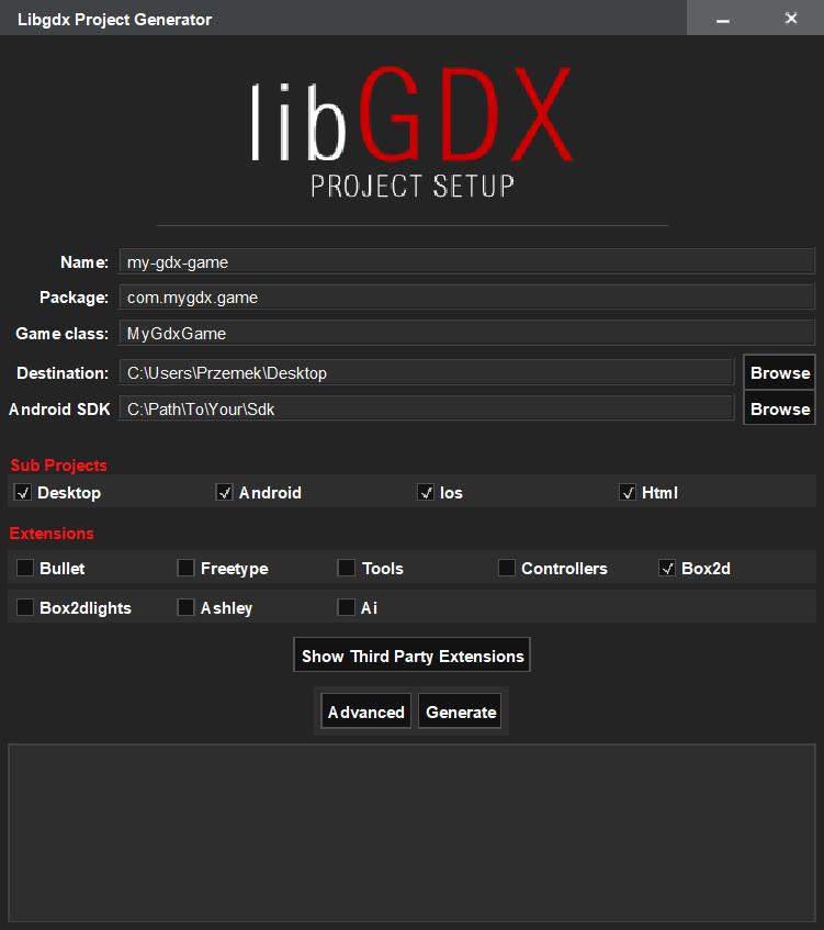 Aplikacja LibGDX Project Setup