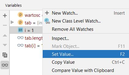 Funkcjonalność Set Value w menu w oknie z wartościami zmiennych