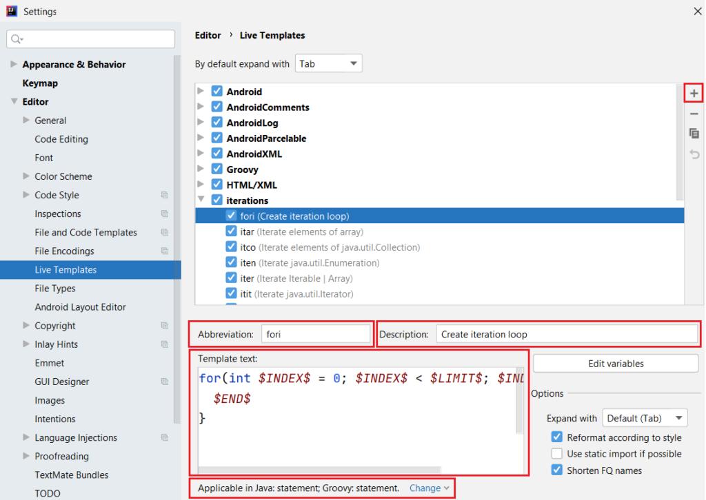 Konfigurowanie Live Templates (szablonów kodu)