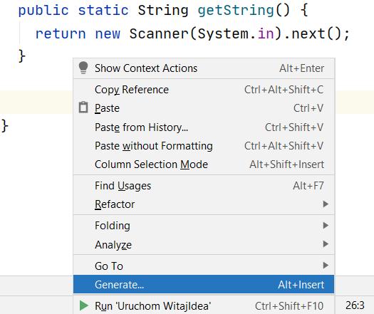 Funkcjonalność Generate w menu kontekstowym po kliknięciu prawym przyciskiem myszki w edytorze kodu