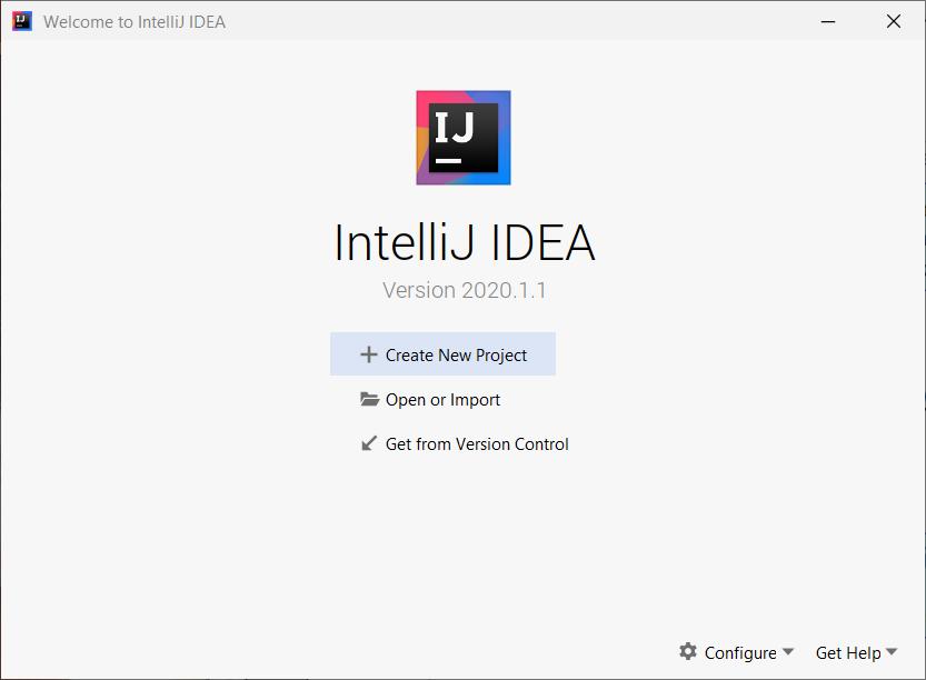 Okno startowe IntelliJ IDEA