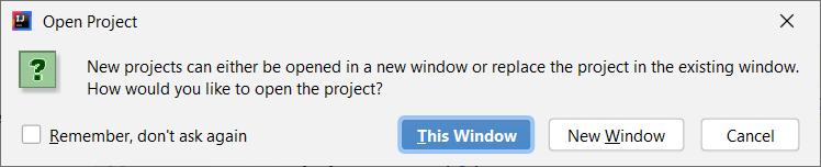 Okno, które wyświetla IDEA, gdy otwieramy kolejny projekt
