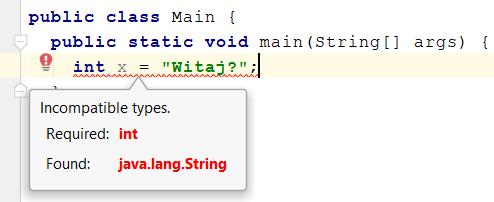 Podświetlanie błędu przez IDEA w edytorze kodu