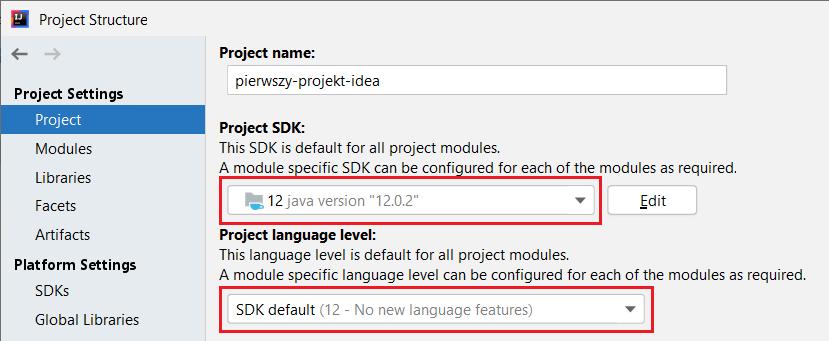 Ustawienia dla projektu - przykład ustawiania JDK oraz wersji języka Java
