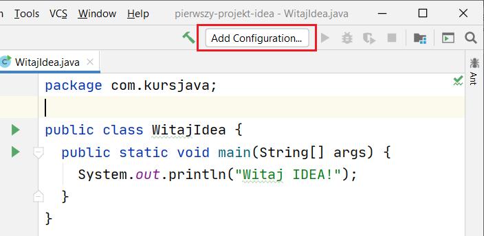 Lokalizacja przycisku Add Configuration...