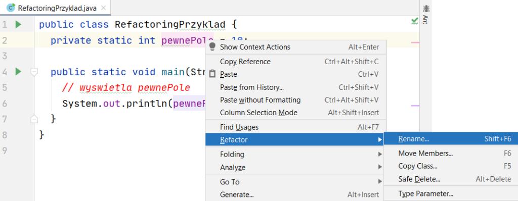Funkcjonalność Rename w menu kontekstowym edytora kodu