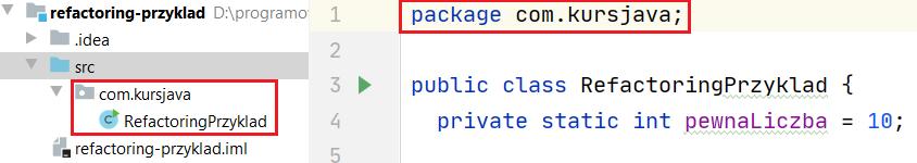 Wynik zmiany pakietu, w którym znajduje się klasa