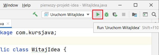 Lokalizacja przycisku do uruchamiania projektu