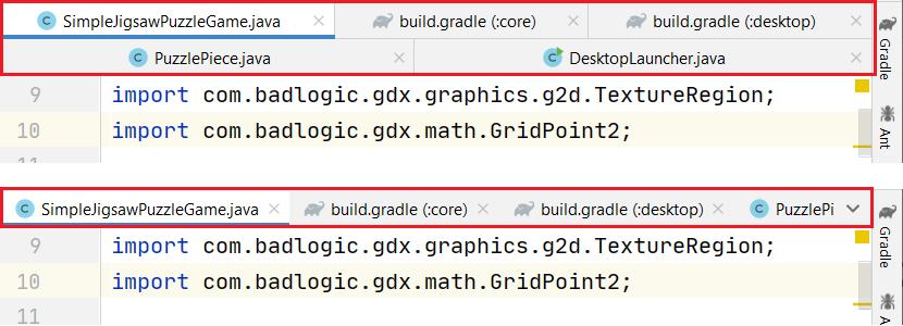 Porównanie wyświetlania zakładek w edytorze kodu w wielu rzędach (obraz na górze) i w jednym rzędzie (dolny obraz)
